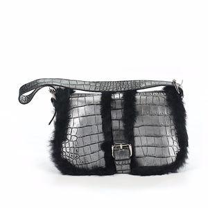 Cavalcanti Silver Leather Black Fur Trim